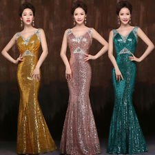 NEW STOCK SHINY MERMAID SEQUIN LONG PROM DRESS PARTY EVENING FORMAL GOWN DRESSES