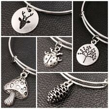 Expandable Wire Bangle Silver Plated Bracelet Single Charm Nature Icon Series A