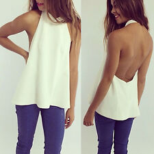 Womens Summer Casual Backless Sleeveless Halter Shirt T-shirt Summer Blouse Tops