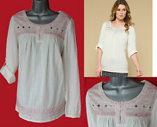 *MONSOON*Ivory/Red Edith Embroidered Tabed Sleeve Shirt Blouse Top-M-£45