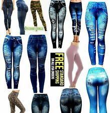 Juniors Womens ONE SIZE S-M-L-XL Leggings/Jeggings Print Denim Jeans Style-960