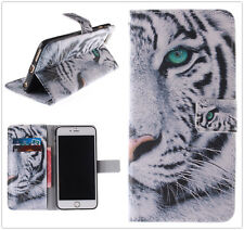 White Tiger Flip Stand Wallet Case For Apple/Samsung/Sony/Alcatel/LG/HTC/Nokia