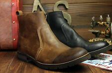Vintage mens desert ankle boots genuine leather zipper casual dress shoes