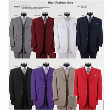 New Men's 3 Pc Poly- Poplin Fashion Suit With Collared Vest Two Side Vents 905V
