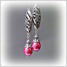 Watermelon Pink Pearl and Tibetan Silver earrings, clip on or pierced