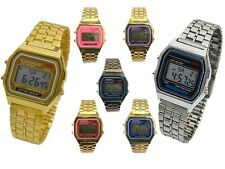 Classic Unisex Retro Gold Silver 80's Vintage Style Alarm Date Digital LCD Watch