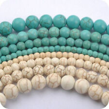 New Lots 4MM 6MM 8MM 10MM Howlite White/Blue Turquoise Gemstone Round Loose Bead