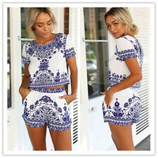 Blue & White Porcelain Print Crop Top And Shorts Set check real pic good quality
