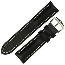 Hirsch HEAVY CALF Waterproof Padded Calf Leather Watch Strap and Buckle - BLACK