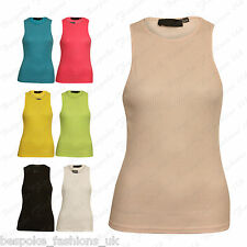 Ladies Women's Muscle Back Sleeveless Stretchy Fitted Ribbed Vest Top T-Shirt