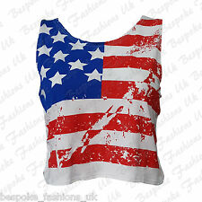 Ladies Women's USA American Flag Print Sleeveless Crop Vest Top T-Shirt SM ML