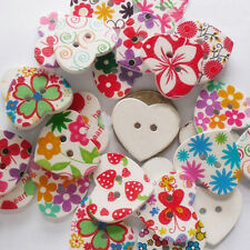 10 Heart Shape Wooden Buttons 22mm x 25mm Pairs or Mixed
