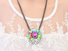 Occident Fashion colorful crystal alloy chain charms Candy color necklace
