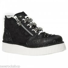 NEWROCK CRP003 S2 Vintage Flower Black Leather Neo Creeper Shoes High Sole Stud