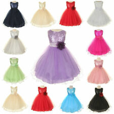Flower Girls Kid's Bridsmaids Formal Party Wedding Princess Sequins Prom Dress