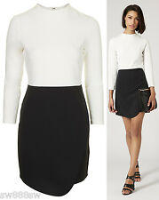£48 TOPSHOP Asymmetric Wrap Tailored Dress Skirt Black White 8 10 12 14 16 New