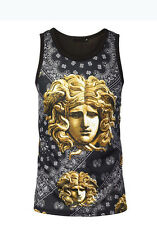 Men's looked Versace Medusa Face Gold Chained Art Graphic SUBLIMATION Tank TOP