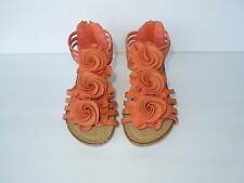 NEW Girl's Very Cute Fashion Comfy Flower Theme Wedged Sandals ORANGE
