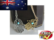 HAMSA HAND OF FATIMA GOLD AND SILVER NECKLACE PENDANT EVIL EYE BEAD LUCKY CHARM