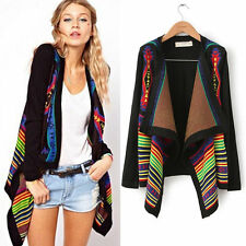 Aztec Tribal Women Geometric Print Cardigan Knitted Sweater Coat Boho Poncho