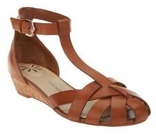 Isaac Mizrahi Leather T-Strap Fisherman Wedge Sandals PICK SIZE & COLOR