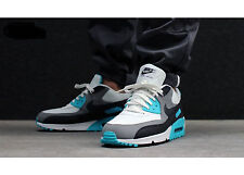 Mens Nike Air Max 90 Essential Sneakers New, White Grey Laser Blue 537384-100