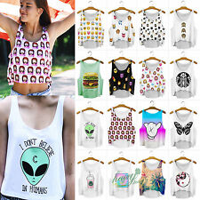 Women Summer Casual Emoji Tank Top Vest Blouse Animal Cartoon Crop T-Shirt Tee