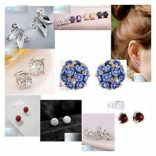 Luxury Elegant 925 Sterling Silver Crystal Ear Stud Earrings Jewelry women @