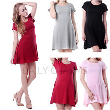 Womens Casual Short Sleeve Soft Flowing Mini Skirt Dress Spring Summer Attire