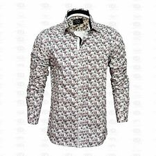 New Mens Caviar Dremes Long Sleeve Button Down Dress Shirt Floral White Cotton