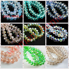 70Pcs 8mm Rondelle Faceted Crystal Glass Loose Beads DIY Findings 118 Colors