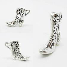Cowboy Boot 3D 925 Sterling Silver Charm Pendant w Spacer / Bracelet or Chain