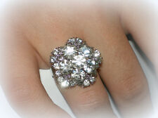VINTAGE STYLE CLEAR WHITE CRYSTAL SILVER FLOWER GIFT RING~ADJUSTABLE SZ 7/8/9