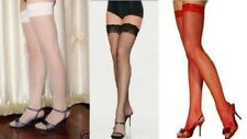 Black White Red Fishnet Stockings thigh high With Lace Trim Lingerie