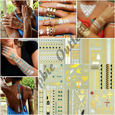DIY Flash Tattoo Temporary Metallic Tattoo Necklace Bracelet Gold Silver Black