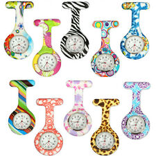 Nurse Doctor Silicone Stainless Steel Dial Brooch Fob Medical Tunic Pocket Watch