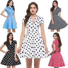 VINTAGE Style RED Rockabilly Polka Dots Swing Gown 50s 60s pinup HOUSEWIFE Dress