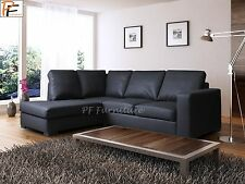 WESTPOINT - CORNER SOFA - BLACK BROWN CREAM RED - FAUX LEATHER