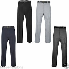 Mens Formal Office Work Causal Smart Trousers Pants Pocket Belt Plus Size