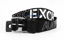 AX ARMANI EXCHANGE 100% AUTHENTIC BLACK & WHITE POLYESTER & LEATHER BELT NEW #6