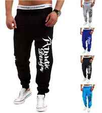 Mens Skinny TRACK PANTS Slim Cuff Trousers Gym Slacks Sport Tracksuit Sweat Pant