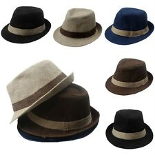 Kids Boys Girls Hemp Straw Hat Fedora Trilby Cap Jazz Cap Gangster Cap Sunhat