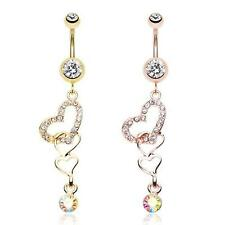 Rose Gold Alluring Jeweled Heart Belly Ring Dangle Clear AB CZ Sexy Navel Love