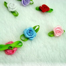 Fashion Ribbon Rose DIY Wedding Flower Satin Decor Applique Craft Sewing Leave