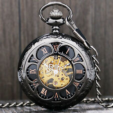 New Hollow Semicircle Black Dial Skeleton Mechanical Hand Wind Pocket Watch Mens