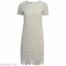 LADIES GORGEOUS MARKS AND SPENCER CREAM COTTON KNEE LENGTH FLORAL LACE DRESS M&S