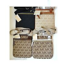 NEW MICHAEL KORS ITEM BLACK+BEIGE+BROWN+WHITE MK JACQUARD CROSSBODY,SHOULDER BAG