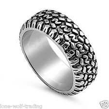 Stainless Steel Tire Tread Ring - Mens