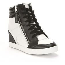 Rock & Republic Women's Kyler High-Top Black & White Wedge Sneakers - Asst Sizes