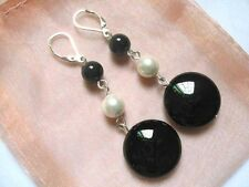 black onyx mother of pearl shell beads silver lever back earrings